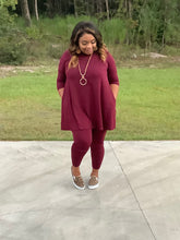 Load image into Gallery viewer, Burgundy Weekend Vibes legging sets