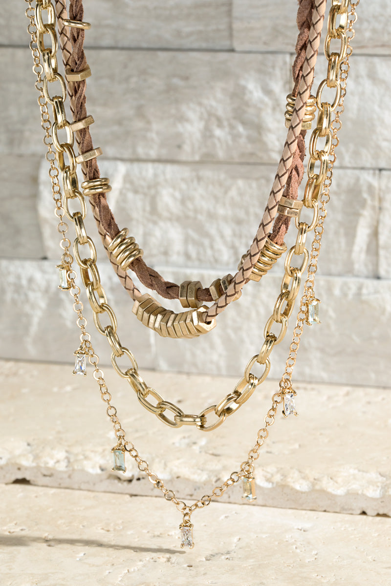 Brown double chain necklace
