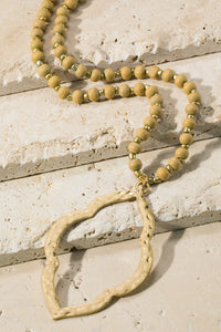Soft Mustard beaded neclace
