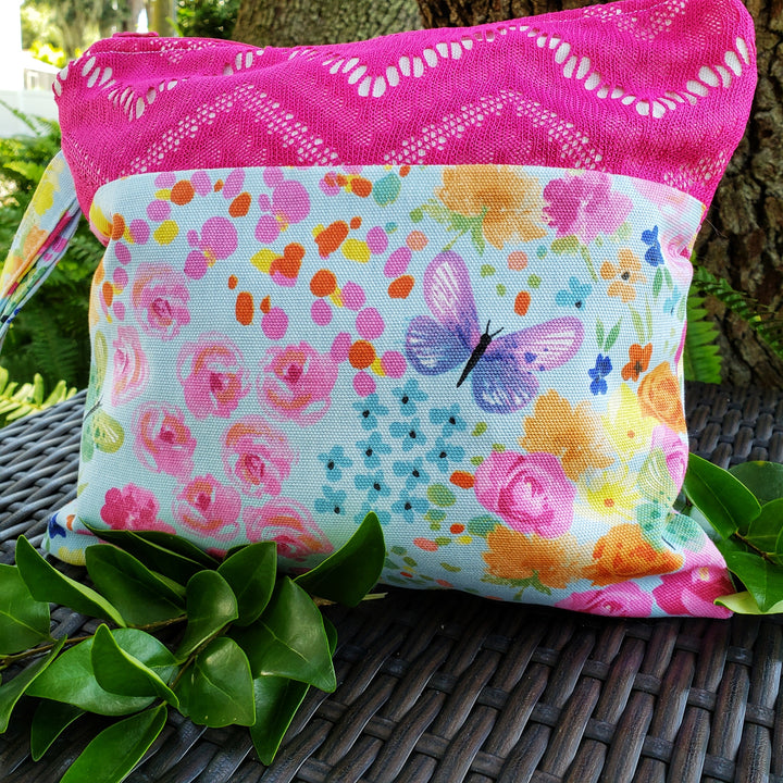 Shabby Chic Pink Flowers and Butterflies Clutch Bag, Unique Design for the best Gift - Domestic Free Shipping