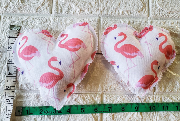 Flamingo Hearts - Fabric Hearts (Domestic Free Shipping)