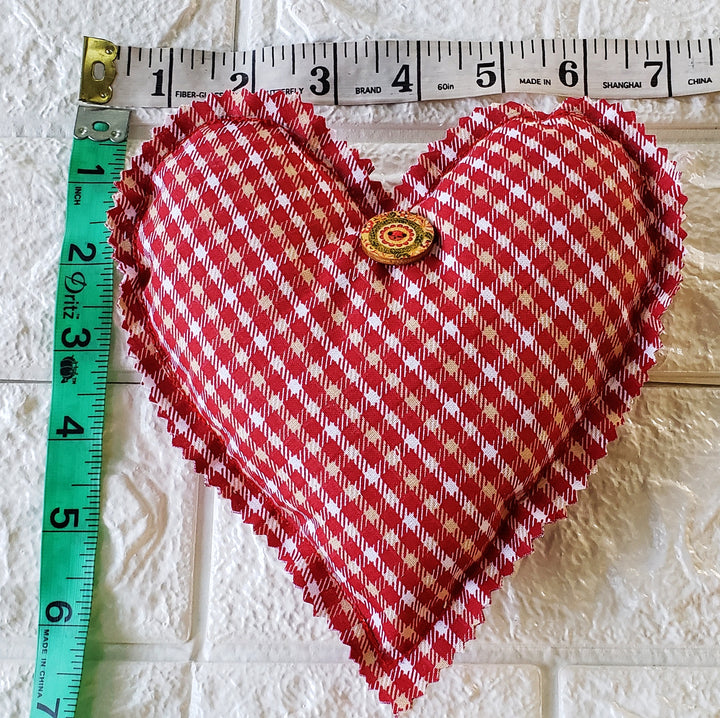 Plaid Rustic Fabric Hearts   (Domestic Free Shipping)