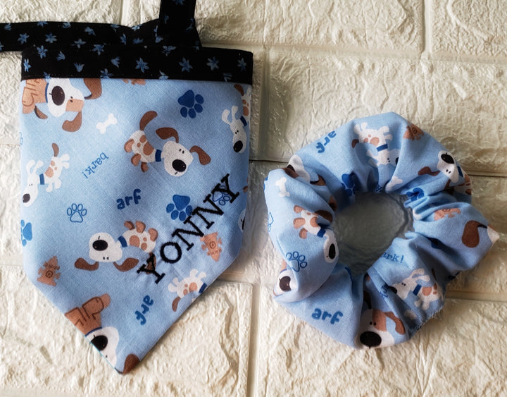 Combo Dog Bandana & Scrunchie, perfect gift for Mom and puppy - Domestic Free Shipping