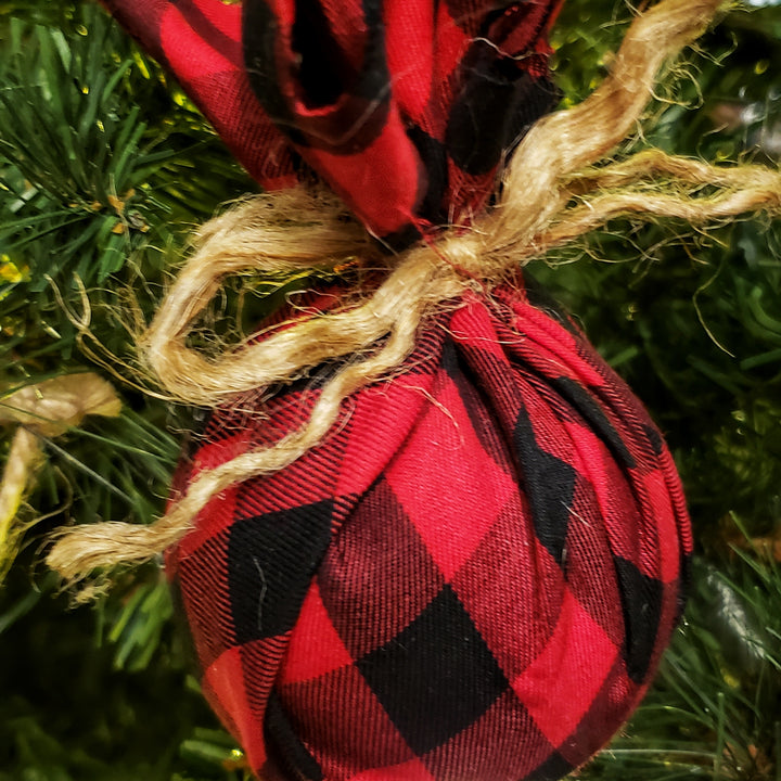 Christmas Buffalo Plaid Ornament for the Tree or Home Decor, Great Farmhouse Gift- Domestic Free Shipping