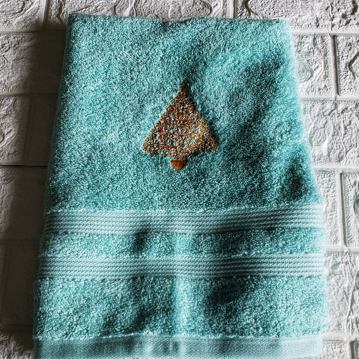 Holiday Hand Towel, Embroidered Christmas Design for Special Gift - Domestic Free Shipping)