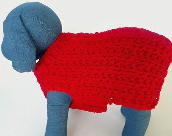Christmas Red Puppy Crochet dog Sweater, Christmas gift for your adorable dog - Domestic Free Shipping
