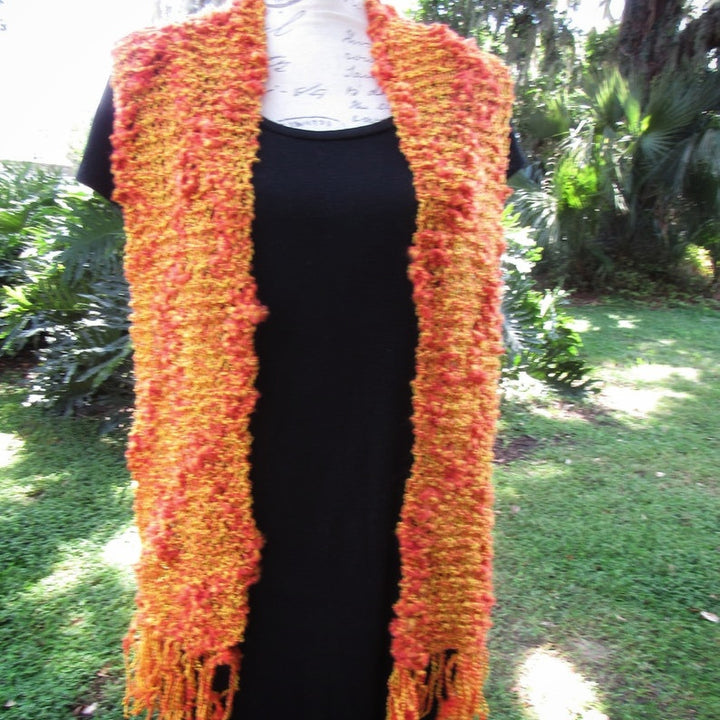 Knitted Crochet Orange Scarf - Domestic Free Shipping