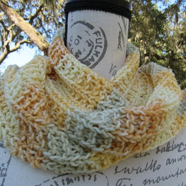Knitted Nuanced Autumn Yellow Scarf, Warm Craftwoman gift - Domestic Free Shipping