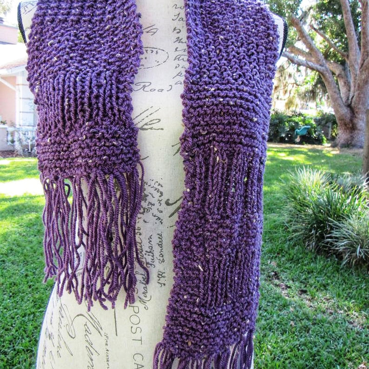 Knitted Bohemian Purple Scarf - Domestic Free Shipping
