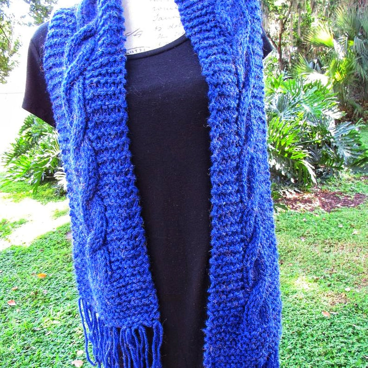 Navy Knitted Scarf, Original Gift for elegant Lady - Domestic Free Shipping