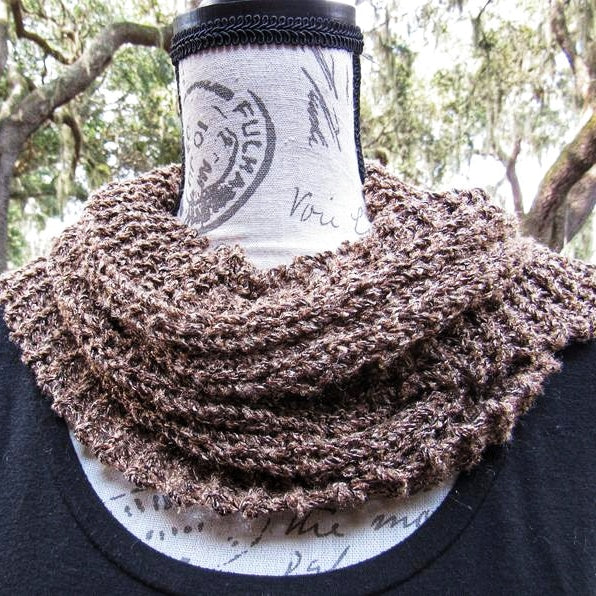 Knitted Gold/Brown Scarf, Bohemian Crochet Scarf Gift. (Domestic Free Shipping)