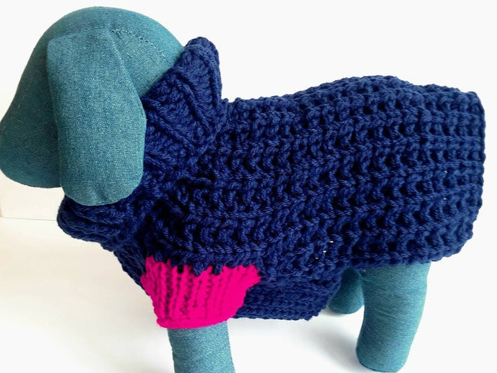 Navy Crochet Dog Sweater (Domestic Free Shipping)