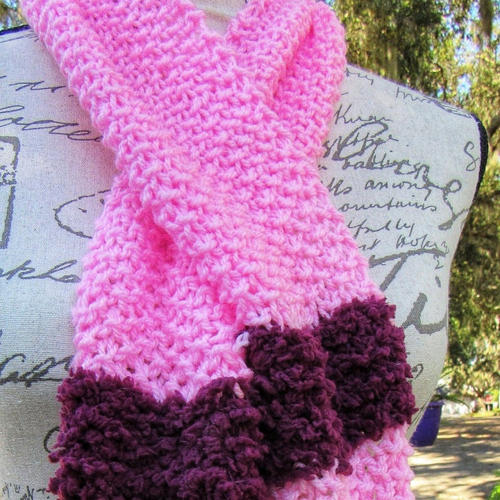Hot Pink Crochet Scarf, handmade Knitted Scarf  for Birthday Gift. (Domestic Free Shipping)