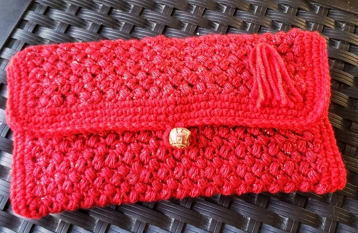 Pretty Crochet Red Cutch Wristlet, to wear for cocktail, and great gift too  - Domestic Free Shipping
