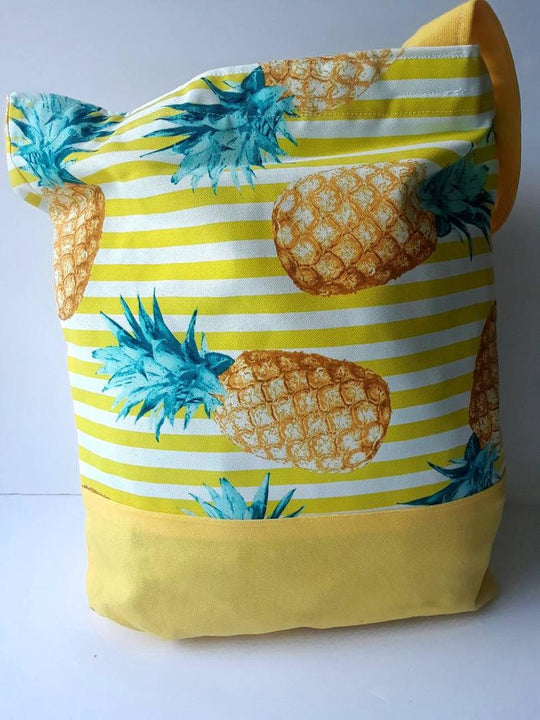 Yellow Pineapples Large Tote Bag, Excellent Gift to Wear at the Beach (Domestic Free Shipping)