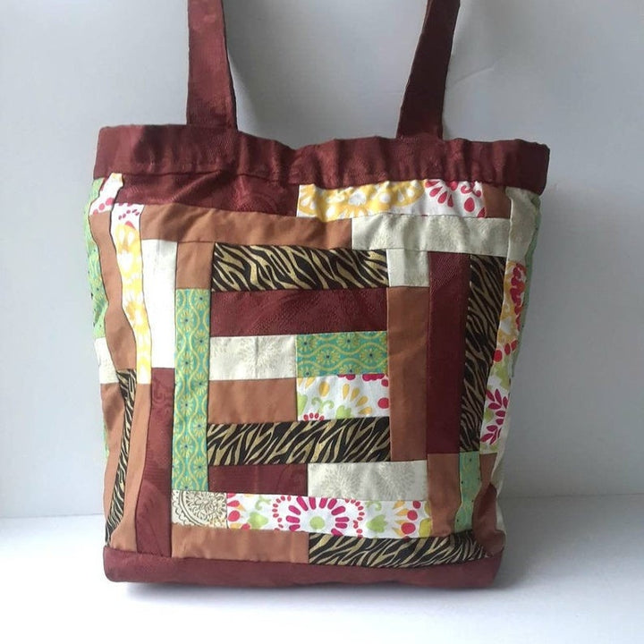 Patchwork Unique Design Large Tote Bag, Original Tote Bag Gift for any occasion. (Domestic Free Shipping)