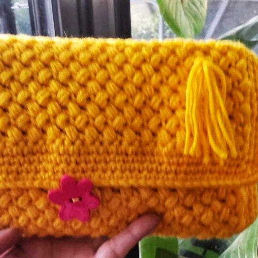 Crochet Yellow Clutch Bag, original Gift for any occasion, (Domestic Free Shipping)