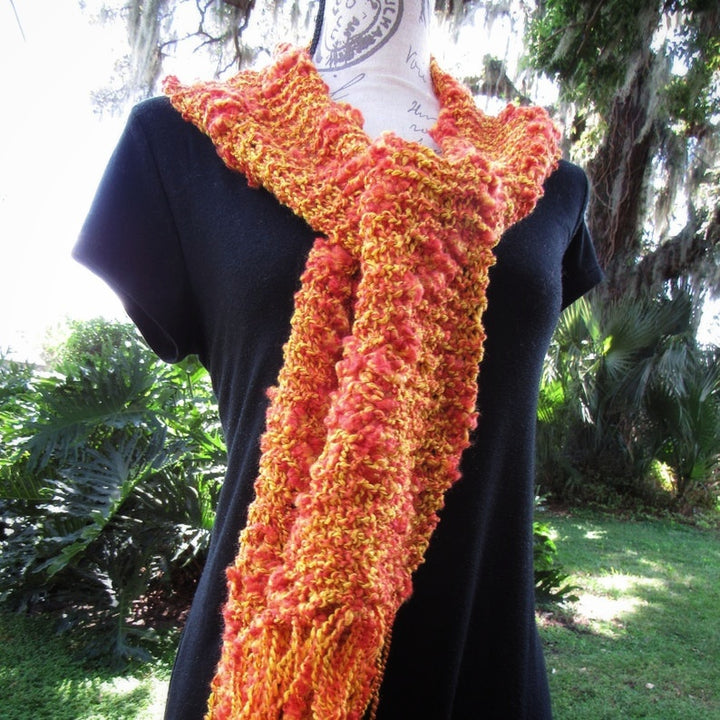 Chunky Crochet Orange Scarf, Knitted Fabulous Boho Scarf Gift - Domestic Free Shipping