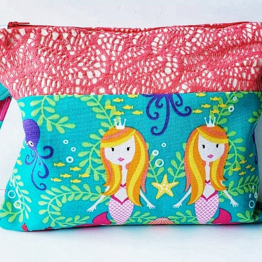 Mermaid Clutch Bag with cute lace up, Fabric Craft Mermaid Beach Clutch Bag Gift, Make up. (Domestic Free Shipping)