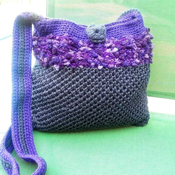 Crochet Gray Purple Wayuu  Mochila, Beach bag - Domestic Free Shipping