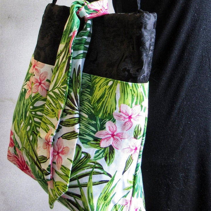 Tropical Large Tote Bag, Shabby Chic Tote Bag, Craftwoman Exotic Gift Bag, (Domestic Free Shipping)