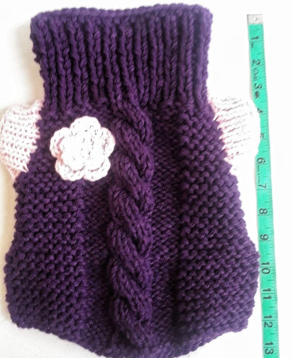 Purple Crochet  Dog Sweater, Sweet Dog Gift (Domestic Free Shipping)