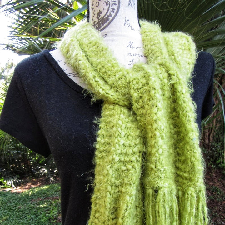 Knitted Apple Green Hufflepuff Scarf, Warm Original Gift for Special Person - Domestic Free Shipping