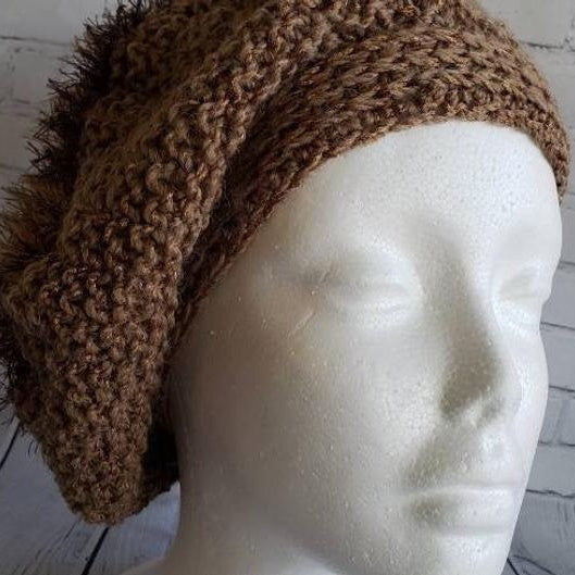 Knitted Brown Hat - Domestic Free Shipping