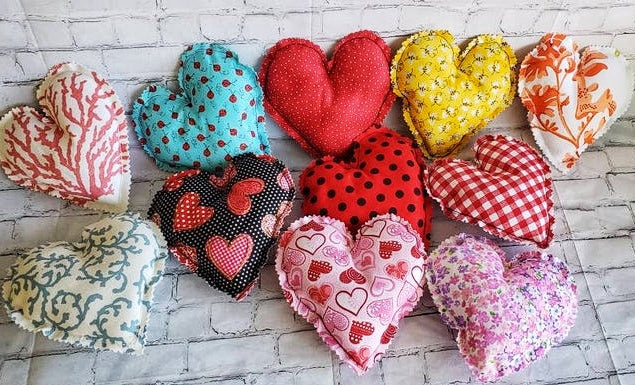 Polka Dots Red Fabric Heart