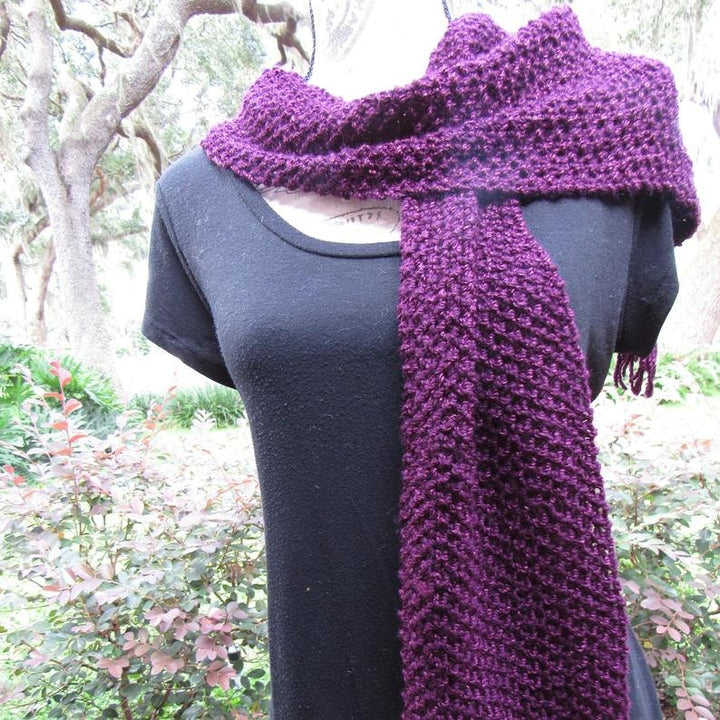 Knitted Purple Scarf, ideal for cocktail, wonderful gift for a Lady- Domestic Free Shipping
