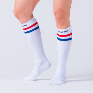 Zeropoint Compression Socks White with Stripes running