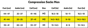 Zeropoint Compression socks size chart men