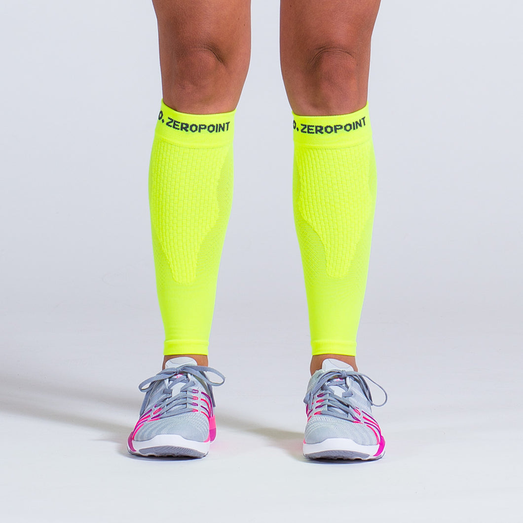 Zeropoint Compression calf sleeves neon yellow
