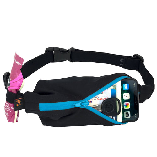 SPIbelt Performance Black with Turquoise zip