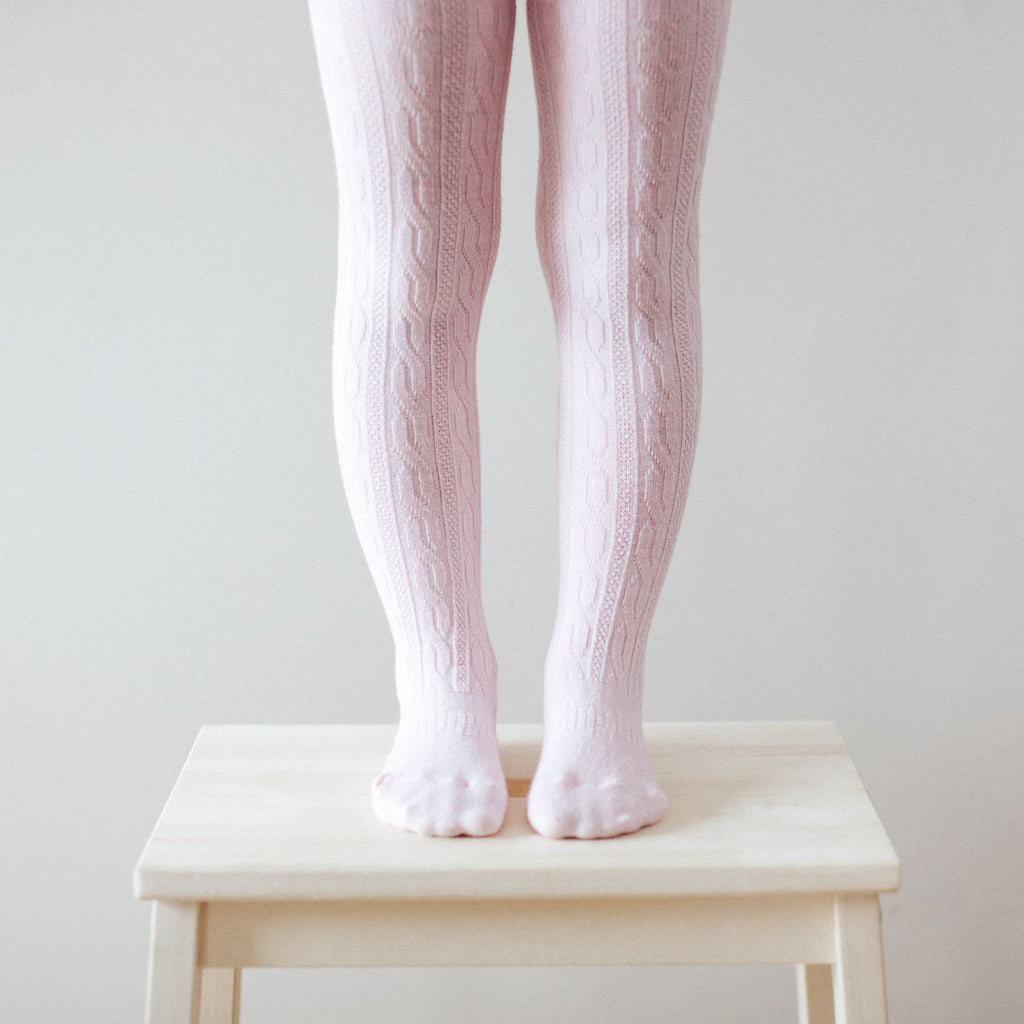 Lamington Merino Wool Tights Sleep & Wear Lamington Cherry Blossom - Cable Knit