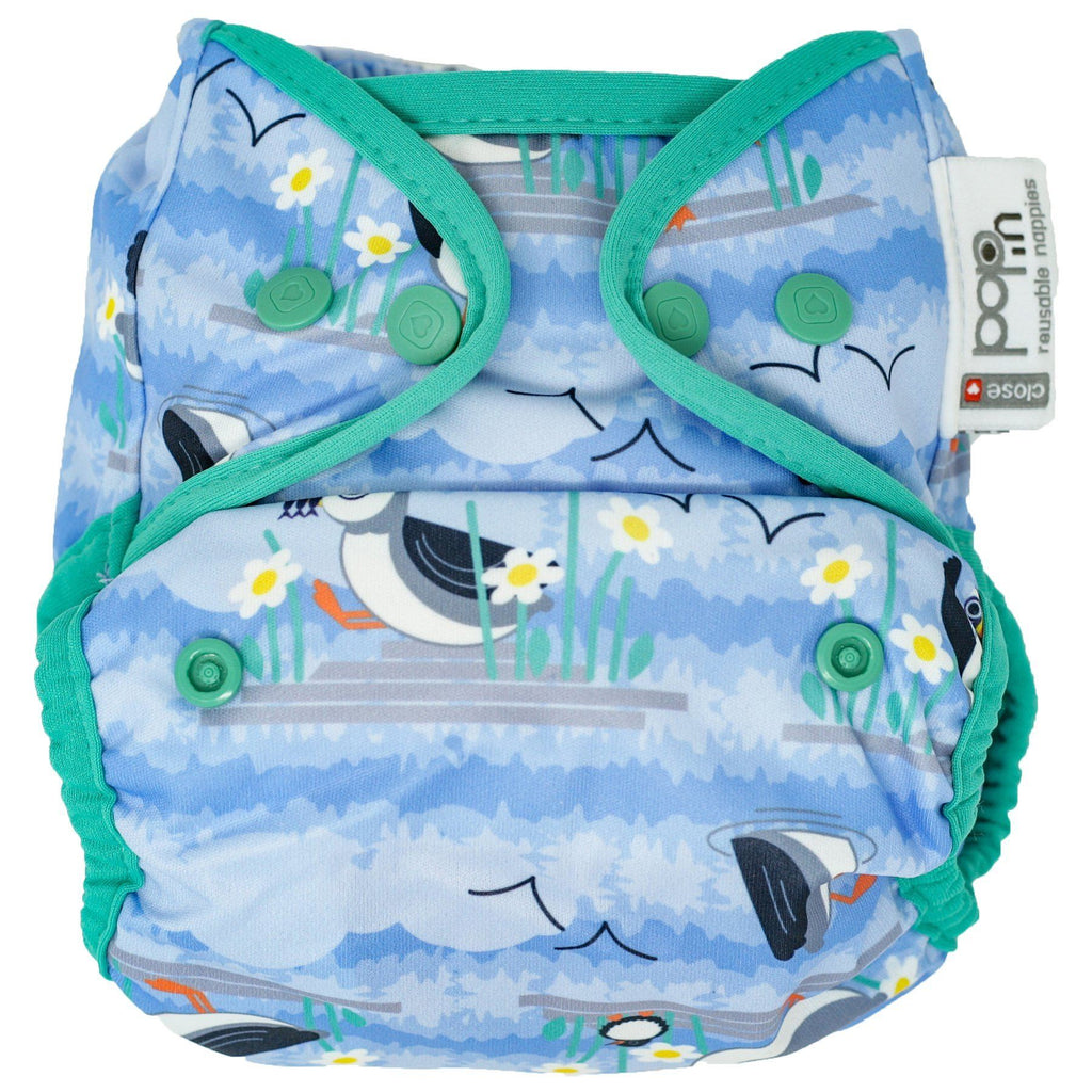 Pop-In Nappy Nappies Close Pop-In Blue Puffin (Bio-Laminate) Snaps