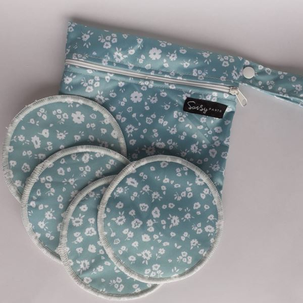 Sassy Pants Breast Pads x4 & Mini Wetbag Mum Sassy Pants Vintage Floral Mint