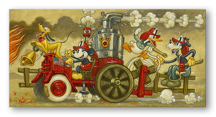 Mickey's Fire Brigade - Hand-Embellished Giclee on Canvas