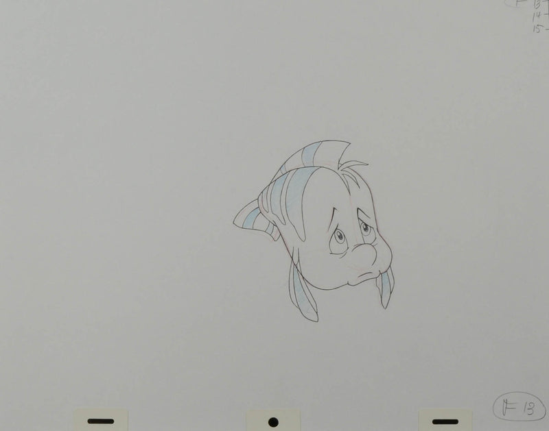 Little Mermaid Flounder Production Drawing