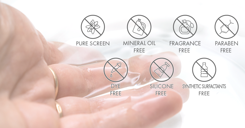 free formulation (without synthetic surfactants,mineral oil-free, fragrance-free, paraben-free,dye-free, silicone-free,purescreen)