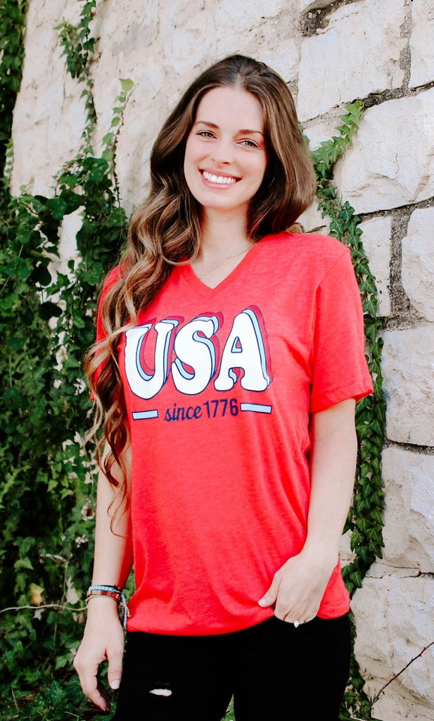 USA Since 1776 (Heather Red) - Short Sleeve / V-Neck