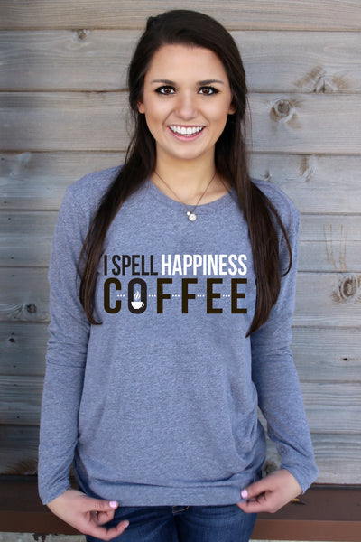 I Spell Happiness COFFEE (Heather Grey) - Long Sleeve