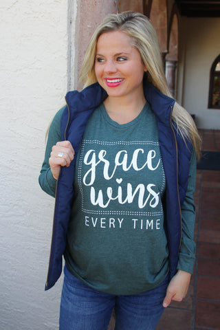 Grace Wins (Heather Forest) - Long Sleeve