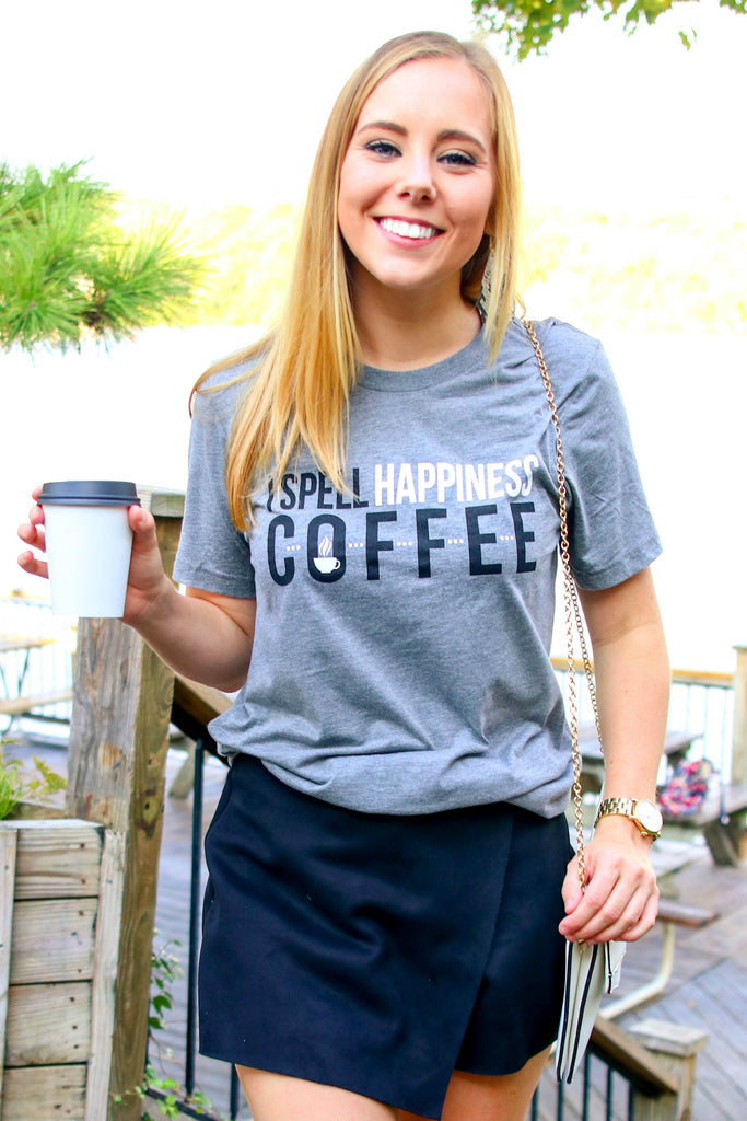 I Spell Happiness Coffee (Grey Tribend) - Short Sleeve