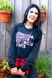 Christmas Lights & Hot Cocoa Nights (Charcoal Black Triblend) - Long Sleeve / Crew