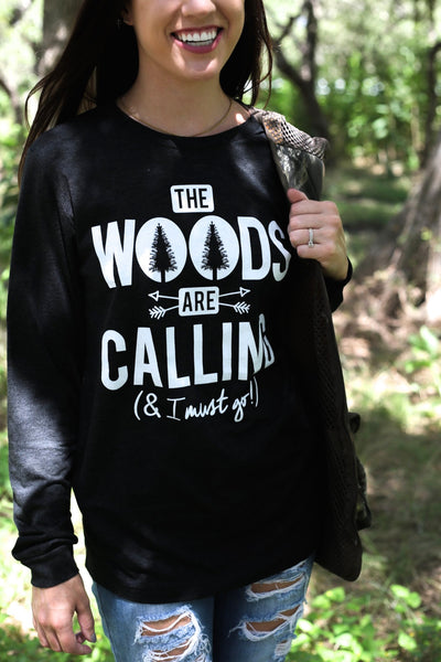 The Woods are Calling - Black Long Sleeve Tee