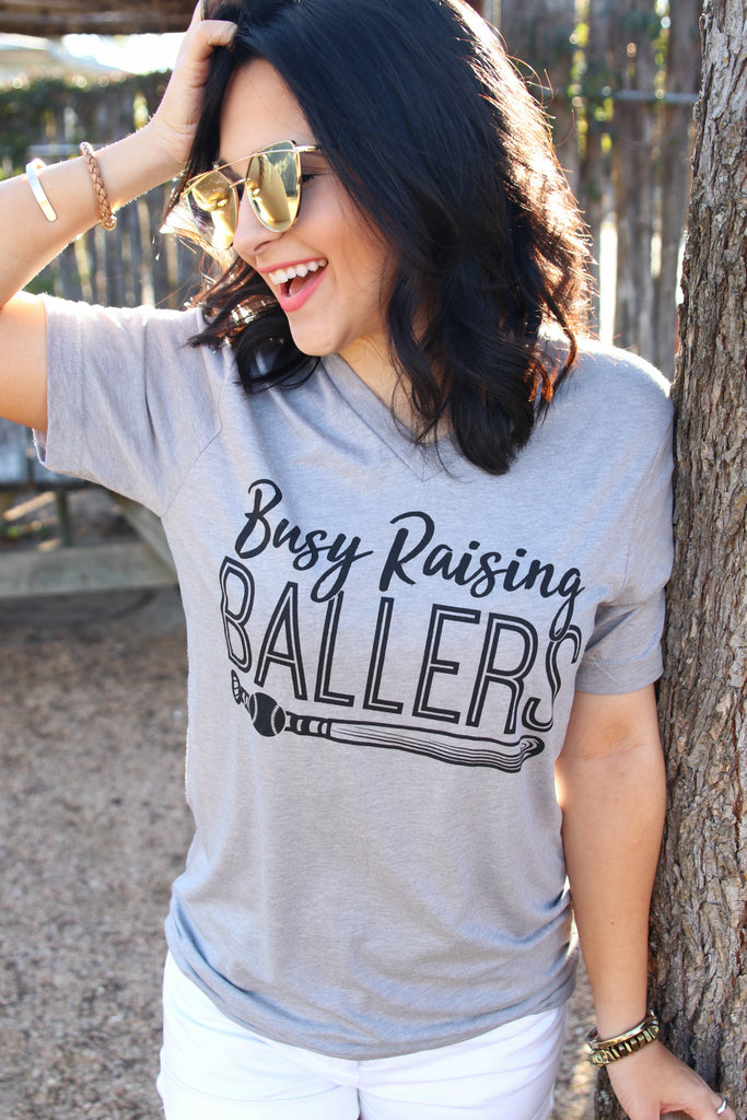 Busy Raising Ballers (Grey) - Short Sleeve