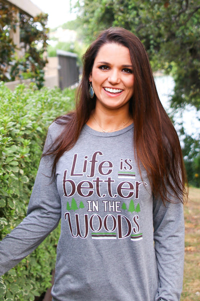 Life Is Better In The Woods (Grey Triblend) - Long Sleeve/Crew