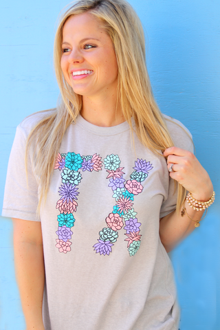 Texas Succulents - Silver - Short Sleeve
