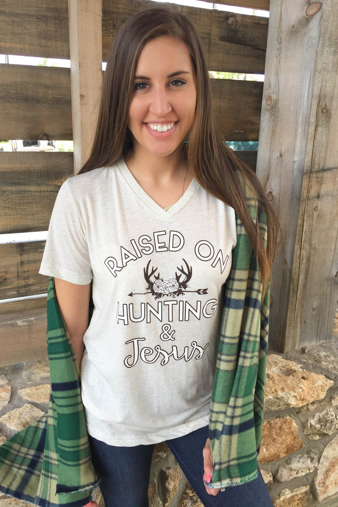 Raised On Hunting & Jesus (Oatmeal) - Short Sleeve
